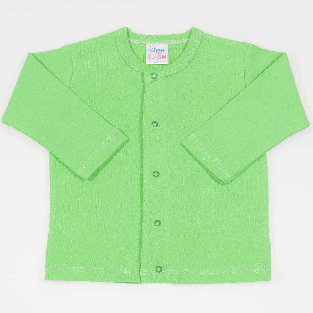 Bluza bebelusi cu maneca lunga si inchidere frontala irish green | liloo