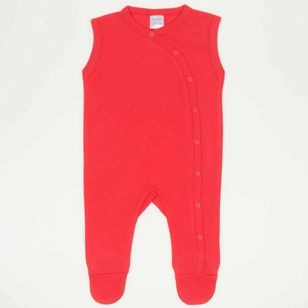 Salopeta fara maneci - pantaloni cu botosei rosu tomato uni | liloo
