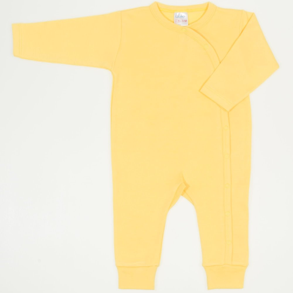 Salopeta maneca lunga si pantaloni cu manseta minion yellow uni | liloo