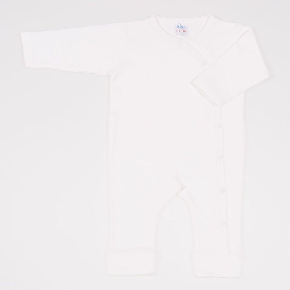 Salopeta maneca lunga si pantaloni cu manseta blanc de blanc uni | liloo