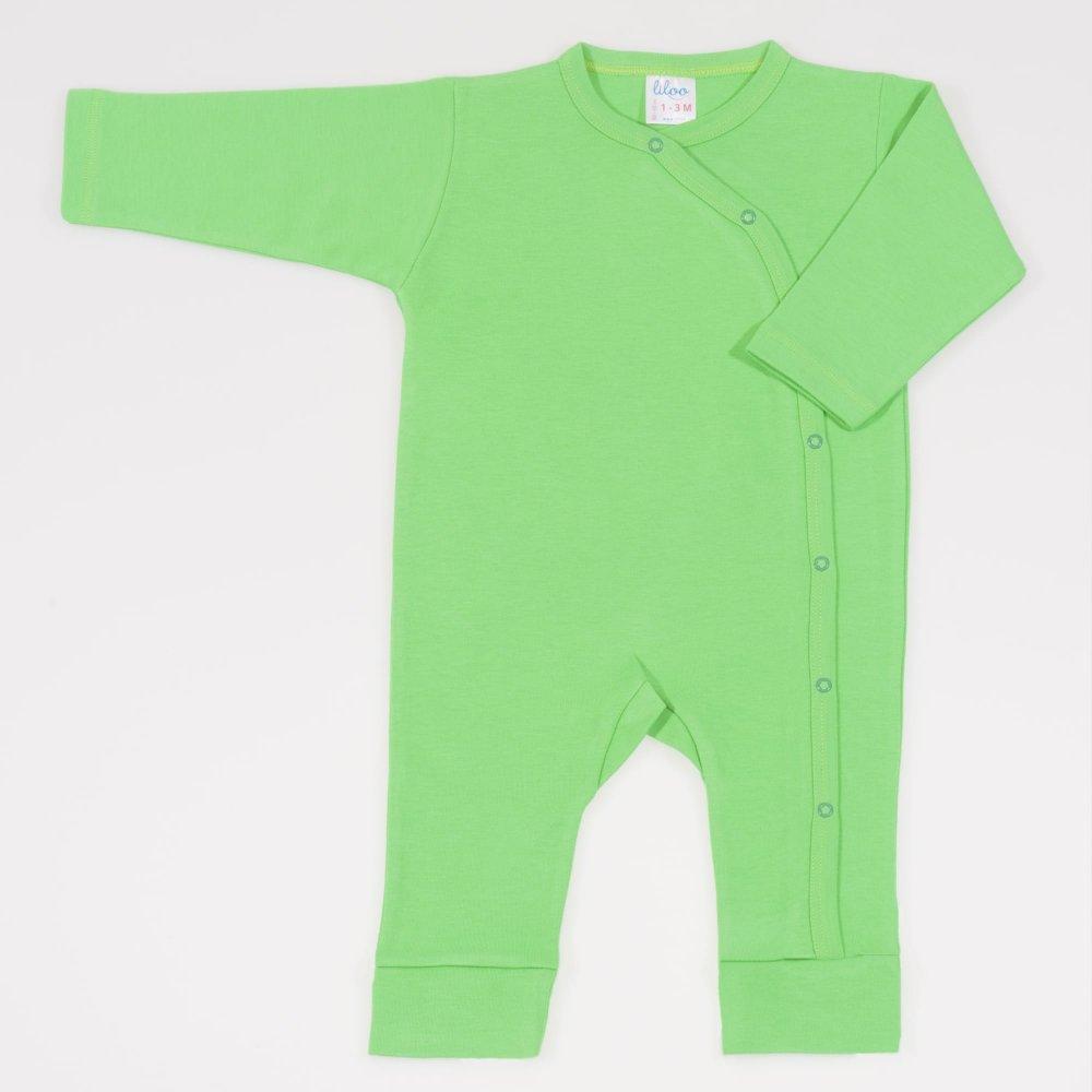 Salopeta maneca lunga si pantaloni cu manseta irish green uni   liloo