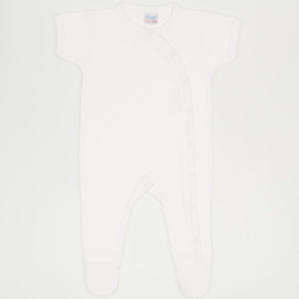 Salopeta maneca scurta si pantaloni cu botosei blanc de blanc uni | liloo