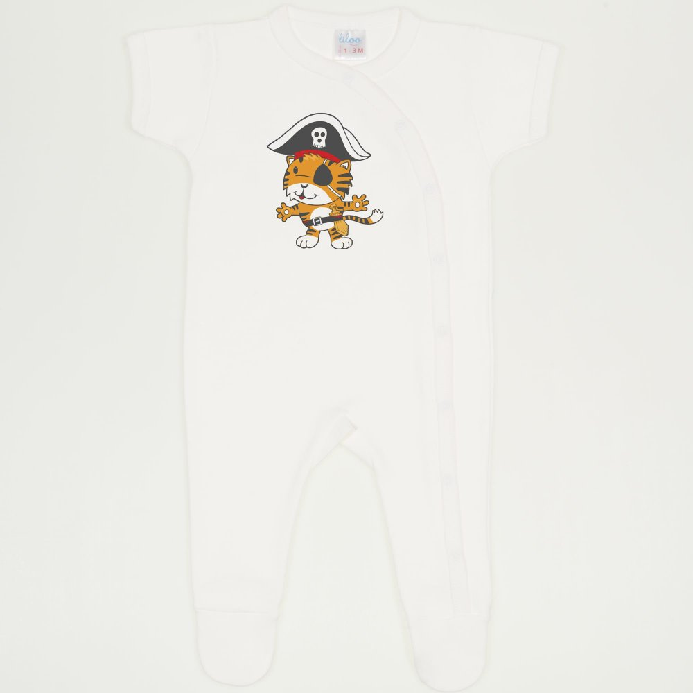 Salopeta maneca scurta si pantaloni cu botosei blanc de blanc imprimeu tigrisor pirat | liloo