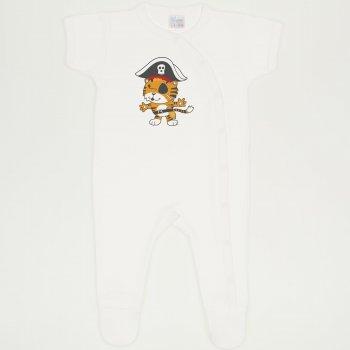 Salopeta maneca scurta si pantaloni cu botosei blanc de blanc imprimeu tigrisor pirat