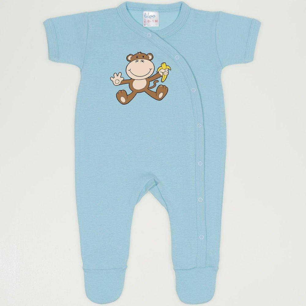 Salopeta maneca scurta si pantaloni cu botosei bleu petit four imprimeu maimutica | liloo
