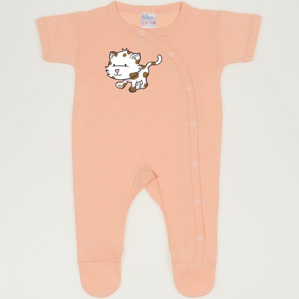 Salopeta maneca scurta si pantaloni cu botosei peach fuzz imprimeu pisicuta la plimbare   liloo
