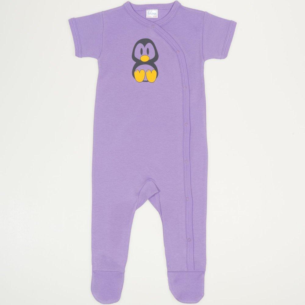 Salopetă mânecă scurtă și pantaloni cu botoșei violet imprimeu pinguinul Tux   liloo