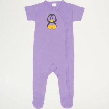 Salopetă mânecă scurtă și pantaloni cu botoșei violet imprimeu pinguinul Tux | liloo