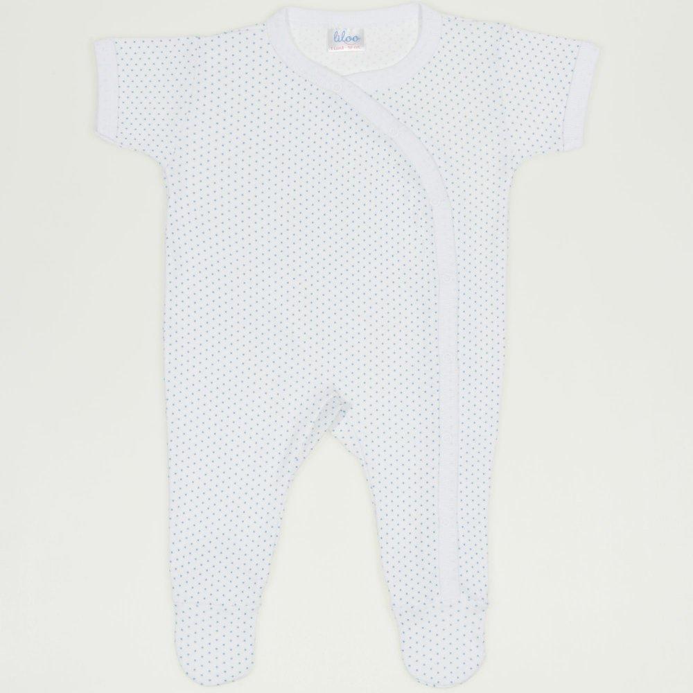 Salopeta maneca scurta si pantaloni cu botosei alba cu buline azur | liloo