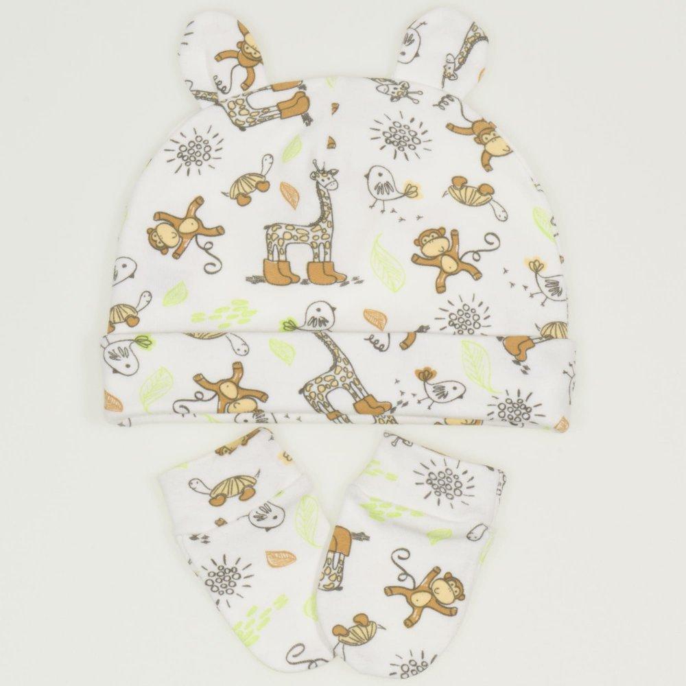 Set bebelusi 2 piese - caciulita si manusi - imprimeu model jungle | liloo