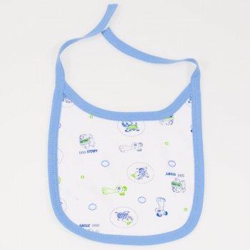 Bavetica (barbita) alba imprimeu model catelusi bordaj azur | liloo