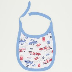 Cars allover print & turquoise trim bib
