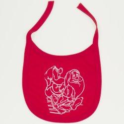 Bavețică (bărbiță) roșie imprimeu pitici