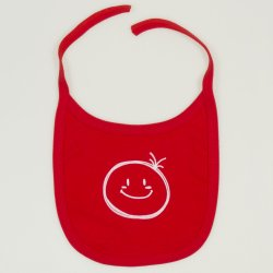 Red bib with smiley print