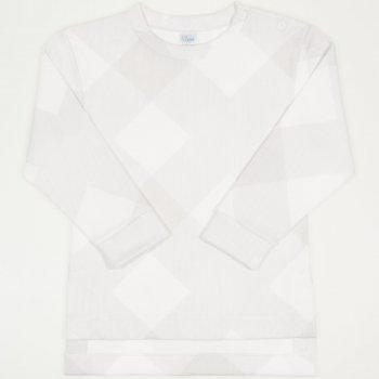 Bluza trening groasa (flausata) alba imprimeu forme geometrice