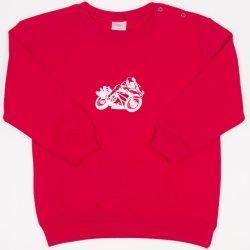 Red sweatshirt with motorcycle print