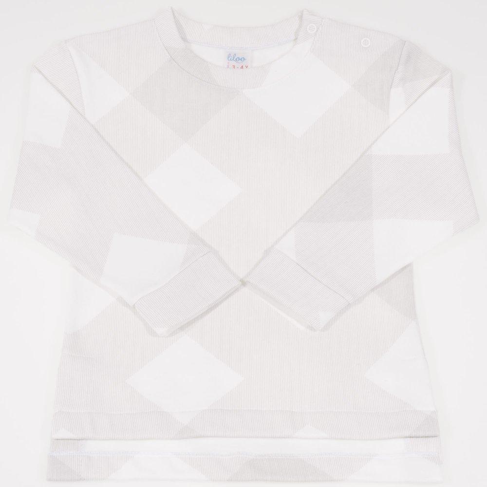 Bluza trening groasa (flausata) alba imprimeu forme geometrice | liloo.ro