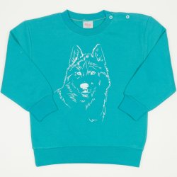 Aqua thin sweatshirt with wolf print