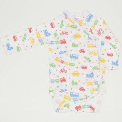 White side-snaps long-sleeve bodysuit with transport toys print