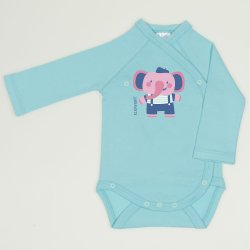 Blue radiance side-snaps long-sleeve bodysuit with elephant print