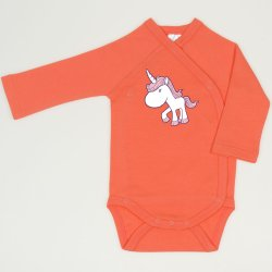 Salmon living coral side-snaps long-sleeve bodysuit with unicorn print