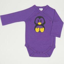 Body capse laterale maneca lunga mov deep lavender imprimeu pinguin Tux