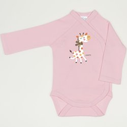 Orchid pink side-snaps long-sleeve bodysuit with giraffe print