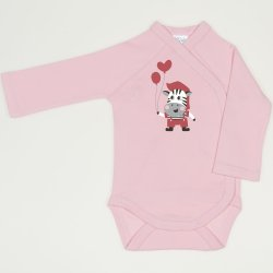 Orchid pink side-snaps long-sleeve bodysuit with zebra with balloons print