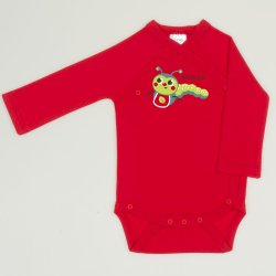 Red tomato side-snaps long-sleeve bodysuit with worm print