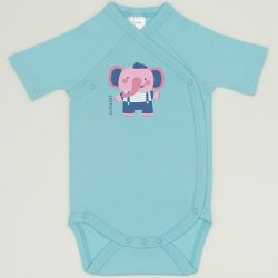 Blue radiance side-snaps short-sleeve bodysuit with elephant print