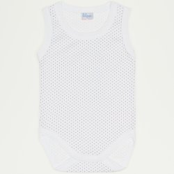 White sleeveless bodysuit with violet dots