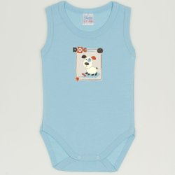 Blue petit four sleeveless bodysuit with puppy print