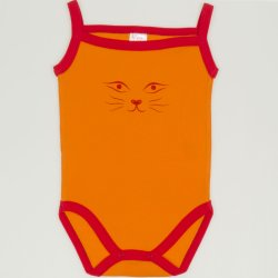 Orange with red sleeveless bodysuit with face cat print (camisole type)