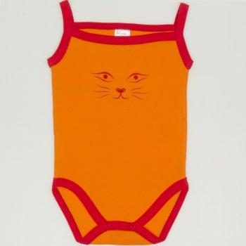 Body maiou bretele portocaliu cu rosu imprimeu fata de pisica