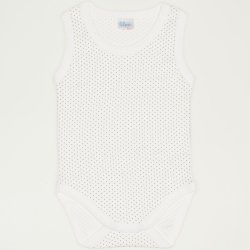 Cream-colored sleeveless bodysuit with maroon dots