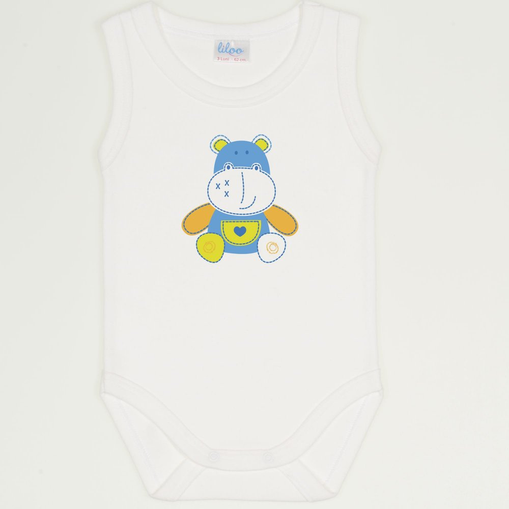 Body maiou crem imprimeu hipopotam colorat | liloo