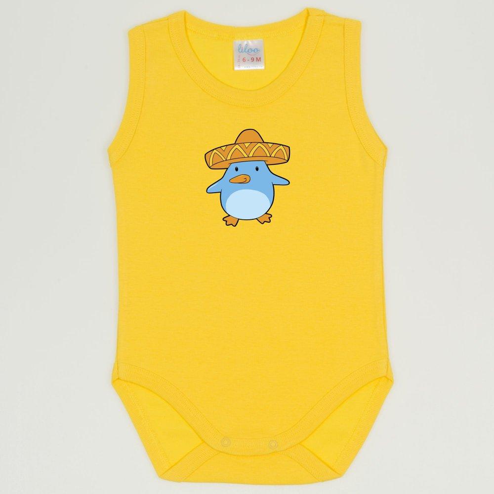 Body maiou galben dandelion imprimeu pui de pinguin cu sombrero | liloo