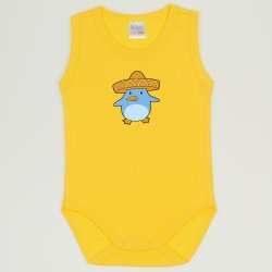 Dandelion yellow sleeveless bodysuit with penguin chick with sombrero print