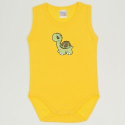 Dandelion yellow sleeveless bodysuit with turtle print