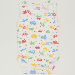 Sleeveless bodysuit with transport toys print