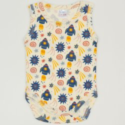 Sleeveless bodysuit  with stars-rockets print