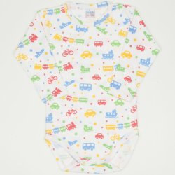 White long-sleeve bodysuit with transport toys print