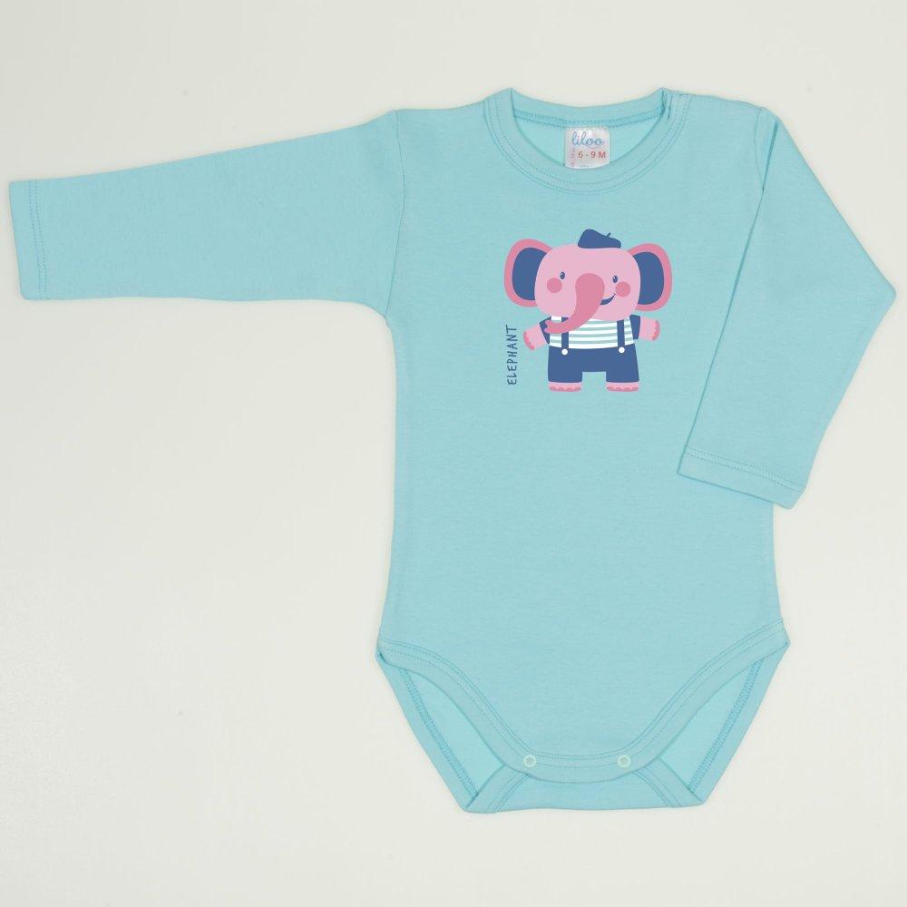 Body mânecă lungă blue radiance imprimeu elefant   liloo