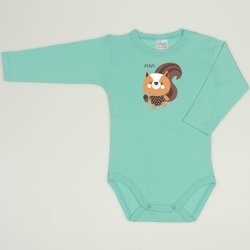 Cockatoo long-sleeve bodysuit with Xerus print
