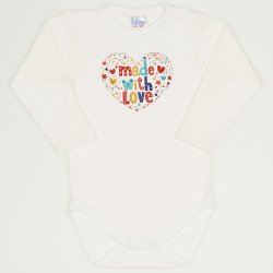 "Cream long-sleeve bodysuit with ""made with love"" print"