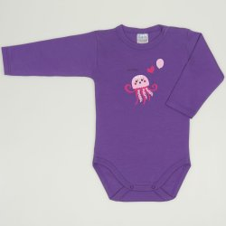 Purple deep lavender long-sleeve bodysuit with sea nettle print