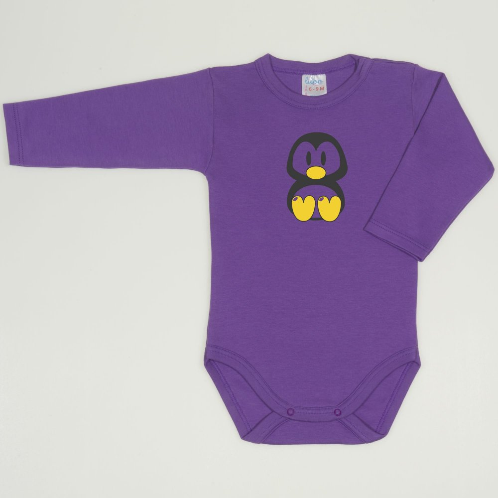 Body maneca lunga mov deep lavender imprimeu pinguinul Tux | liloo