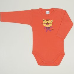Salmon living coral long-sleeve bodysuit with cool cat print