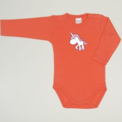 Salmon living coral long-sleeve bodysuit with unicorn print