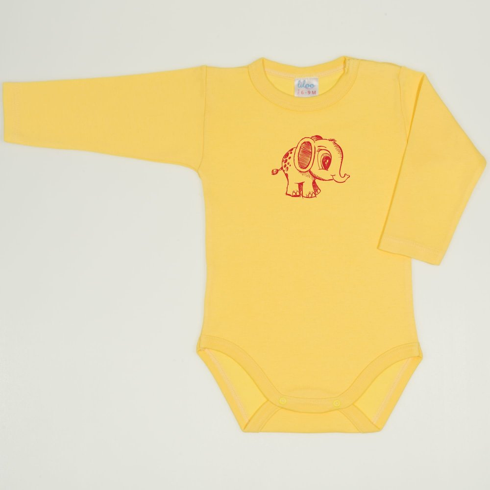 Body maneca lunga minion yellow imprimeu elefantel  | liloo